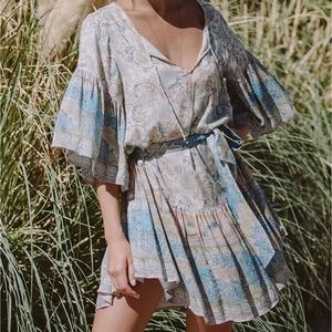 Opal Wide Sleeve Boho DRESS Oasis Blue NEW